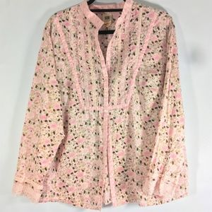 Faded Glory 100% Cotton 18/20W Top Sequin Emb Pink